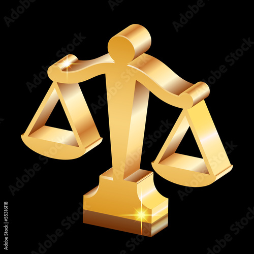 Vector golden shiny justice scales icon