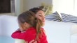Daughter Rushes To Mum At Home And Gives Her A Hug