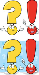 Question Mark And Exclamation Mark Characters. Set Collection