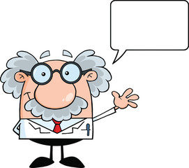 Professor And Waving For Greeting With Speech Bubble