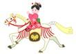 白い飾り馬、和服の女の子