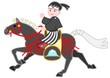 黒い飾り馬、和服の男の子