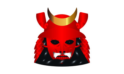 Cultural. Japanese Red Samurai Mask