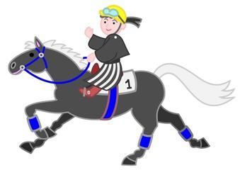 黒い馬、和服の男の子