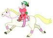 白い馬、和服の女の子