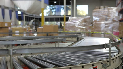 Time Lapse Shot Of Boxes Moving On Conveyor Belt