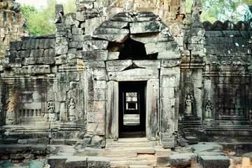 An ancient door of temple at angkor wat, Siem Reap, Cambodia