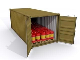 Seecontainer mit Ölfässern