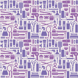 Hair styling related vector seamless pattern background 3