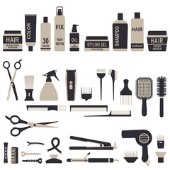 Hair styling icons set 1