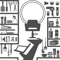 Hair styling salon silhouettes
