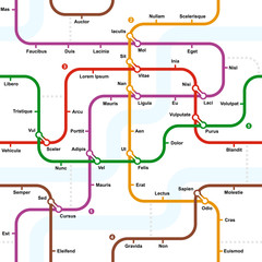Fictional metro map seamless pattern. Vector illustration.