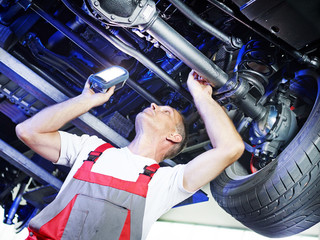 Car mechanic inspecting the engine of a car
