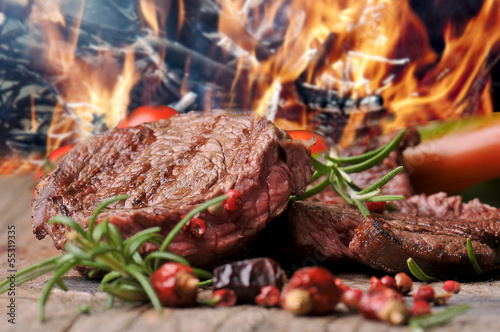 canvas print picture gegrilltes Steak vom Rind