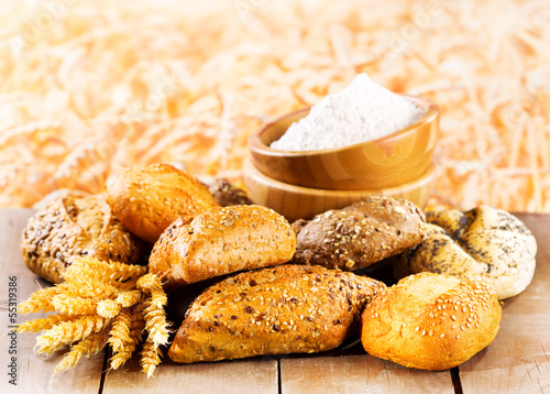 fresh bread with wheat ears