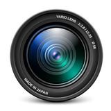 Camera lens isolated on white background, vector illustration