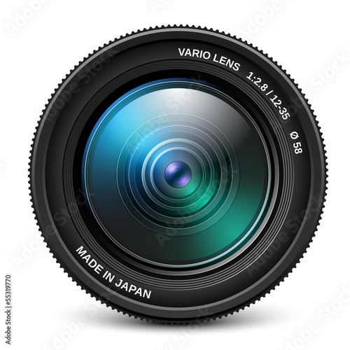 Camera lens isolated over white, vector illustration - 55319770