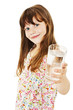 Little girl with glass of water on white background