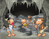 Funny prehistoric family in the cavern.