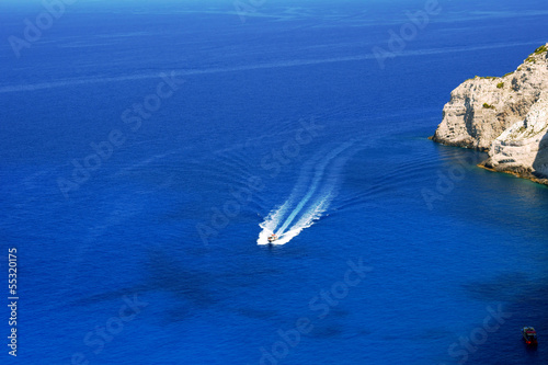 motorboat and cliff, Zakynthos island, Greece