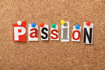 The word Passion on a cork notice board