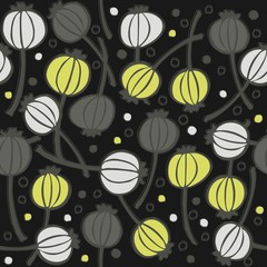 mak makówki kropki bałagan na ciemnym tle roślinny deseń