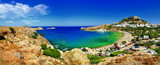 Fototapety panoramic view of Lindos bay, Rhodes island, Greece