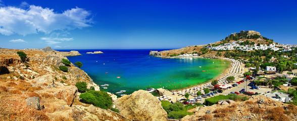 panoramic view of Lindos bay, Rhodes island, Greece