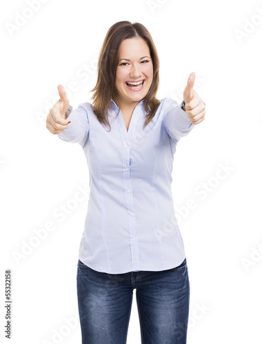 Woman with thumbs up