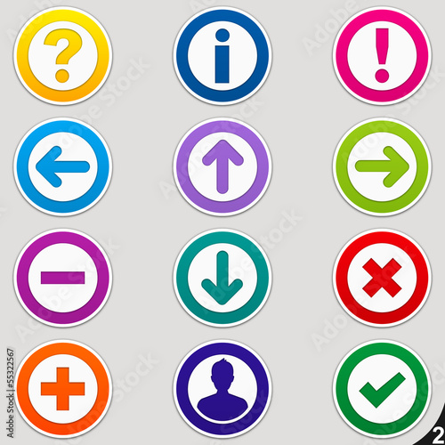 Colorful icons, buttons, stickers - Collection 2