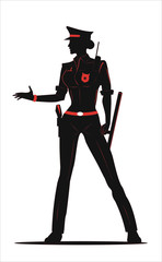 policewoman in Black & Red