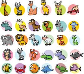 Набор мультфильм животных, векторные