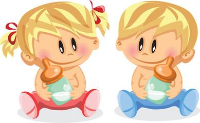Векторная иллюстрация мальчика и девочку