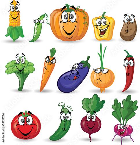 Постер, плакат: Мультфильм овощи и фрукты, холст на подрамнике