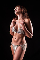 Belly dancer studio portrait