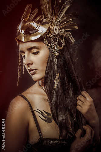 Mystery Queen, young with golden mask, ancient goddess