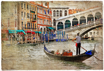 romantic Venetian canals -artistic picture in painting style
