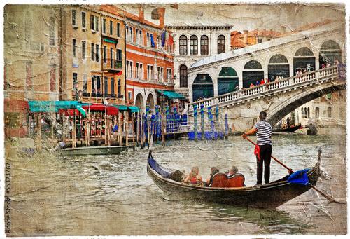 Fotobehang Venetie romantic Venetian canals -artistic picture in painting style
