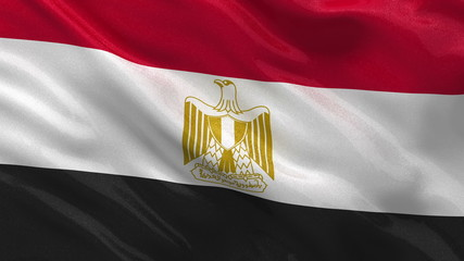 Seamless loop of the Egyptian flag waving in the wind