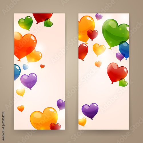 Vector Illustration of Colorful Banners with Heart Balloons