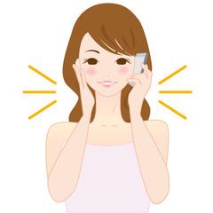 かわいい 女性 スマートフォン イラスト 美容 相談