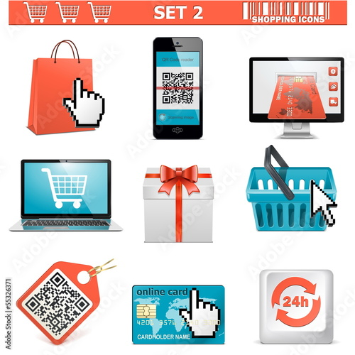 Vector shopping  icons set 2