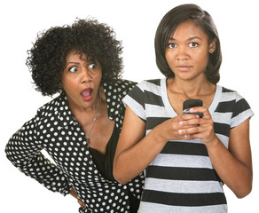 Shocked Mother and Texting Teenager