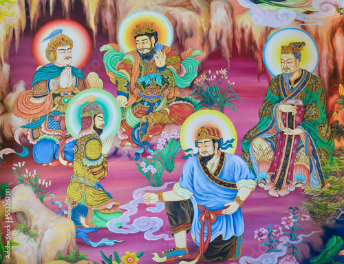 Chinese mural on temple wall, Thailand