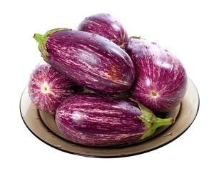 Eggplants on round plate
