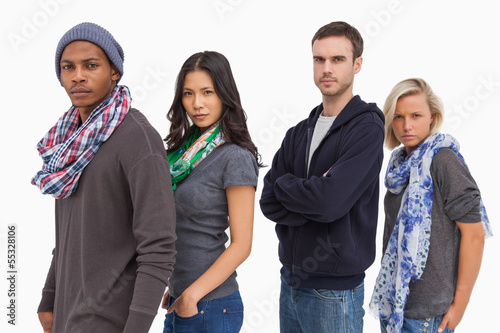 Stylish young people in a row