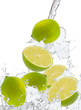 fresh lime in water splash