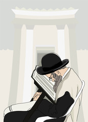 Jew reads the Torah on background of imaginary Holy Temple