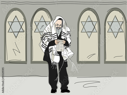 religious Jew after attending synagogue