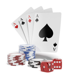 Chip and cards for poker